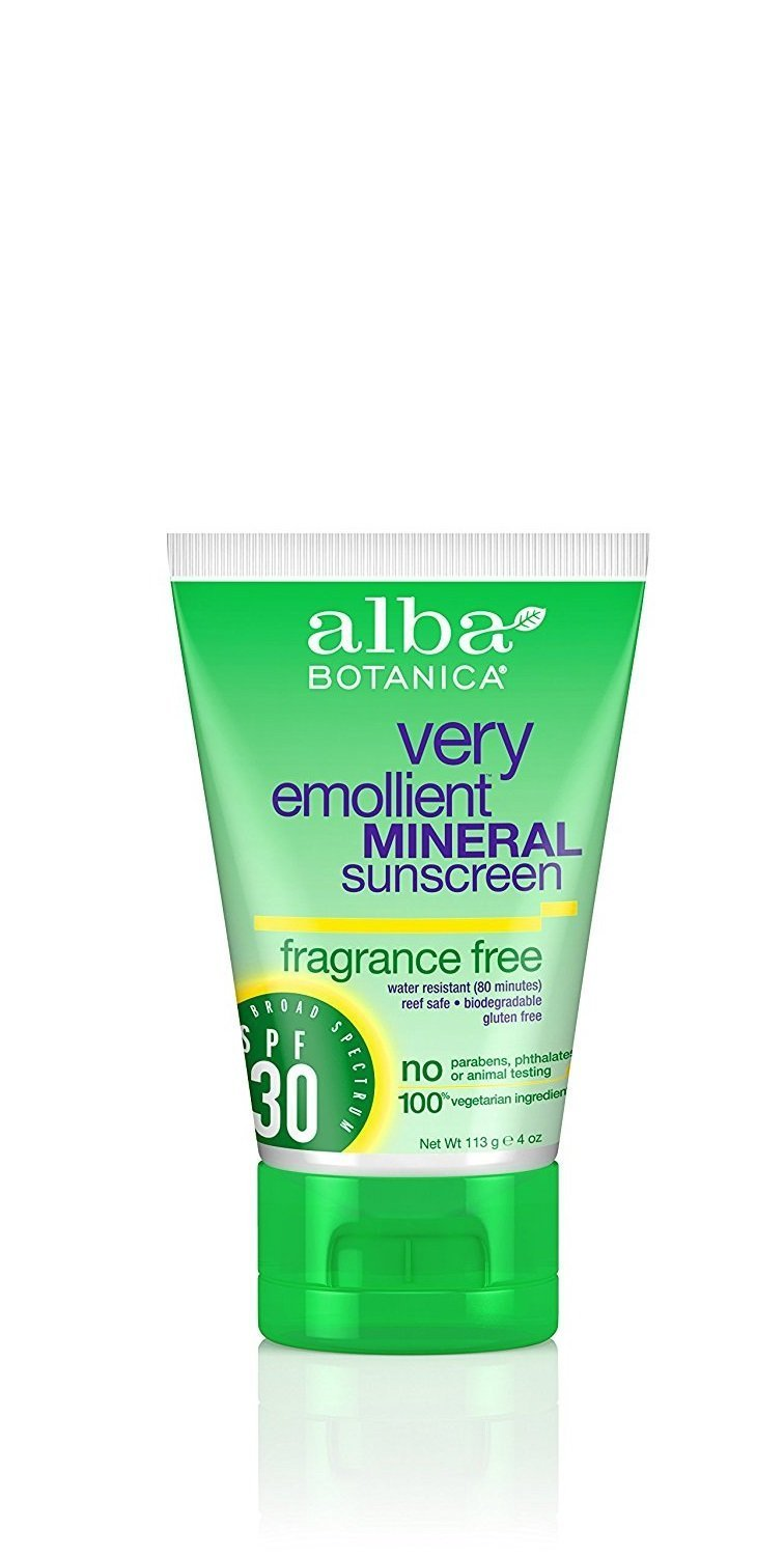 Alba Botanica Very Emollient, Fragrance Free Mineral Sunscreen SPF 30, 4 Ounce (Packaging May Vary)
