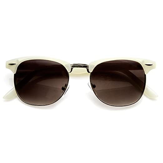 b9715aa368 Image Unavailable. Image not available for. Color  Pastel Color Semi-Rimless  Half Frame Horn Rimmed Sunglasses (White)