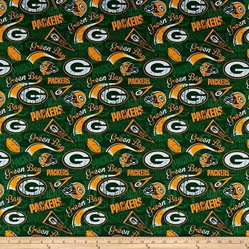 Traditions NFL Cotton Broadcloth Bay Packers Retro , Green Fabric by the Yard