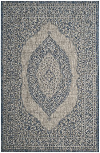 Safavieh CY8751-36812-8 Courtyard Collection Area Rug, 8' x 11', Light Grey/Blue