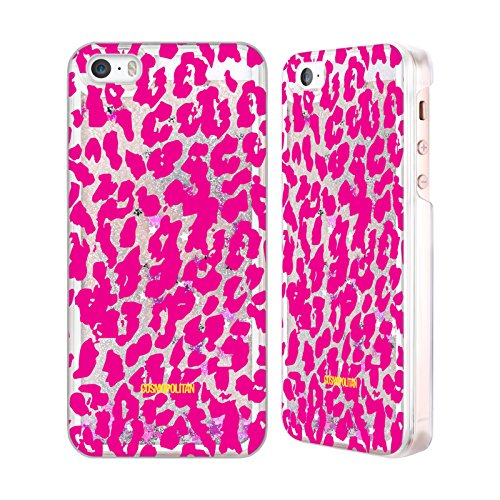 Official Cosmopolitan Pink Cheetah Animal Skin Patterns Silver Liquid Glitter Case Cover for Apple iPhone 5 / 5s / SE
