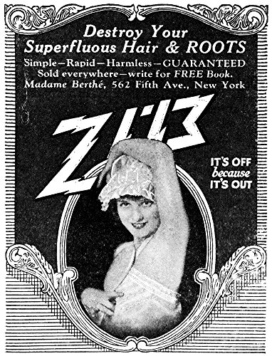 Posterazzi Poster Print Collection Ad Namerican Advertisement for Madame Berth_Zip Hair Removal 1926, (18 x 24), Multicolored
