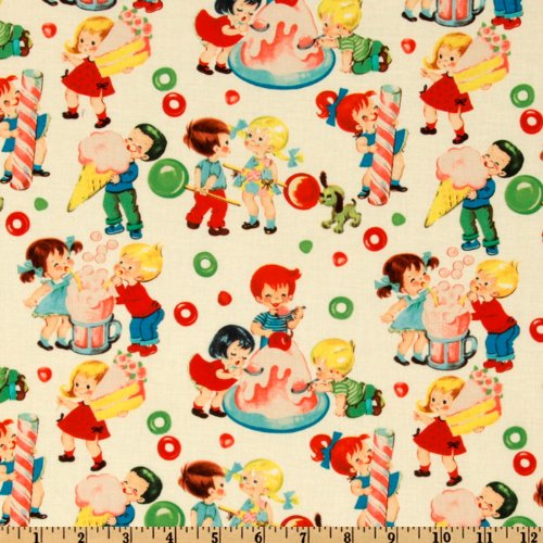 Michael Miller Retro Candy Shop Cream Fabric By The Yard - Michael Miller Cream