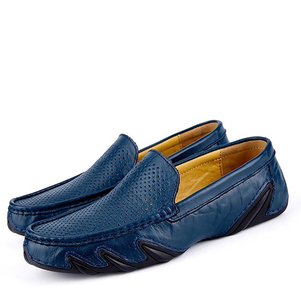 Sandalias de cuero de diseño de recorte Sandalias de cuero de verano Negocio de caballero Respire libremente (Color : Azul, Tamaño : 38) 38|Azul