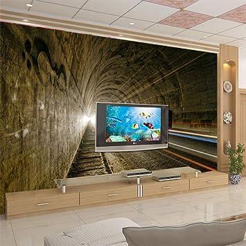 Custom Wallpaper 3D Stereo Vision Wallpaper Landscape Tunnel Road ...