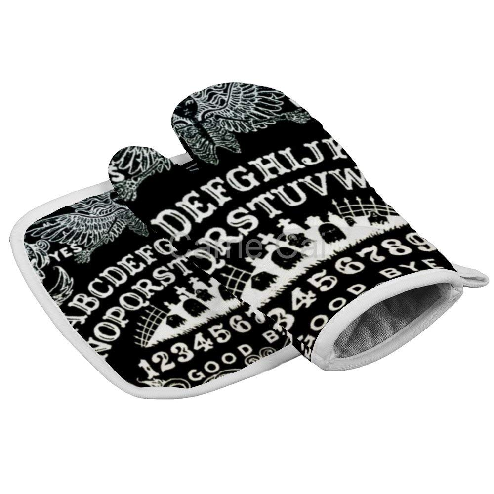 Spirit Witch Board Black Gothic Goth Occult Witchcraft Oven Gloves Microwave Gloves Barbecue Gloves Kitchen Cooking Bake Heat Resistant Gloves Combination