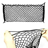 iJDMTOY (1 40' x 20' Large Size Universal Double-Layer Nylon Trunk Cargo Storage Organizer Net w/ 4 Mounting Hooks for Car SUV