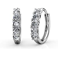 BELLE & LILY Hoop Loop Earrings 18K White Gold with Swarovski Element Crystal Sparking Gift for Wife Mother (E-Hoop4)