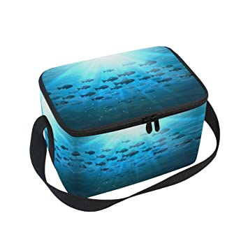 ALAZA Bolsa de almuerzo con aislamiento de peces, bolsa reutilizable, bolsa de viaje,