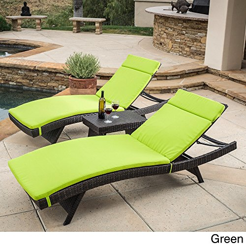 Christopher Knight Home Luana Outdoor 3-piece Wicker Adjustable Chaise Lounge Set with Cushions Green price