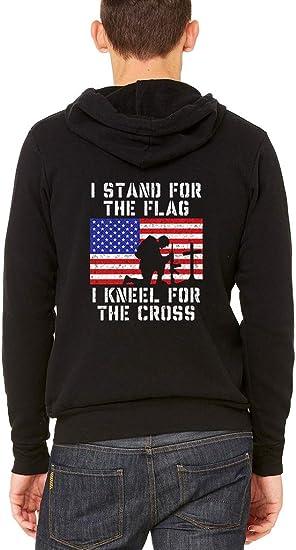 Zip Up Hoodie Stand for Flag Kneel Cross Hooded Sweatshirt for Men