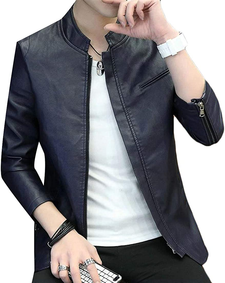 JSY Mens Juniors Fall Winter Faux Leather Stand Collar Outdoors Zip Up Vintage Jacket
