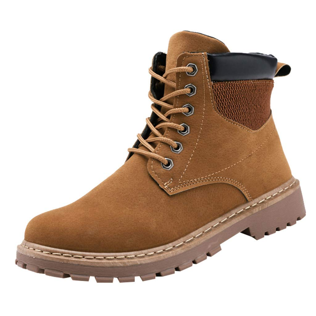 【MOHOLL】 Men's Leather Insulated Work Boots Construction Rubber Sole England Style Suede High-Slip Skid Boots Yellow