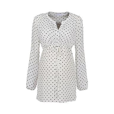 b710c0adebe9 2HEARTS Umstands- und Still-Bluse Dots weiß Damen Umstandsmode  Schwangerschaftsmode Bluse