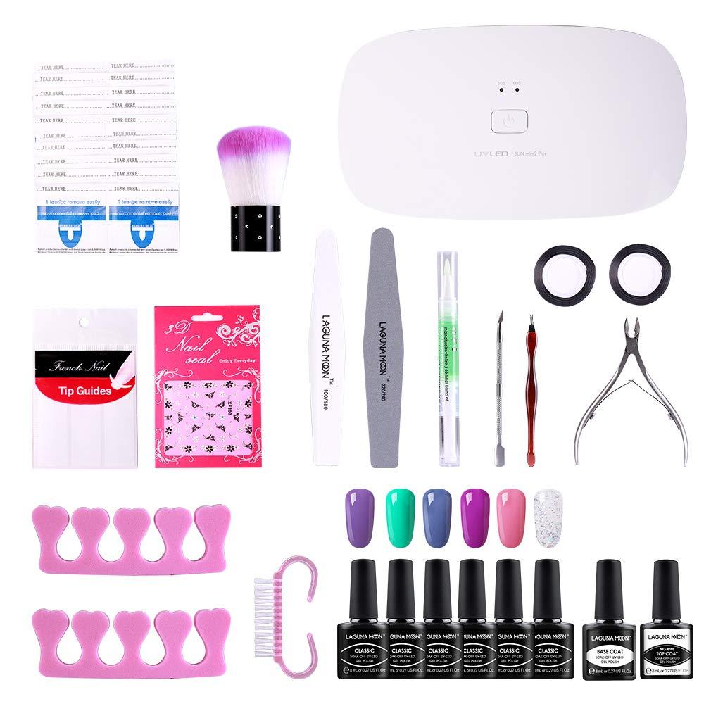 Lagunamoon Gel Nail Polish Kit with UV Light 24W Nail Lamp Gel Base ...