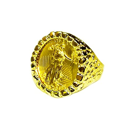 81c03cdc6649a 14K Solid Yellow Gold Mens Nugget Coin Ring With A 22K 1/4 Oz ...