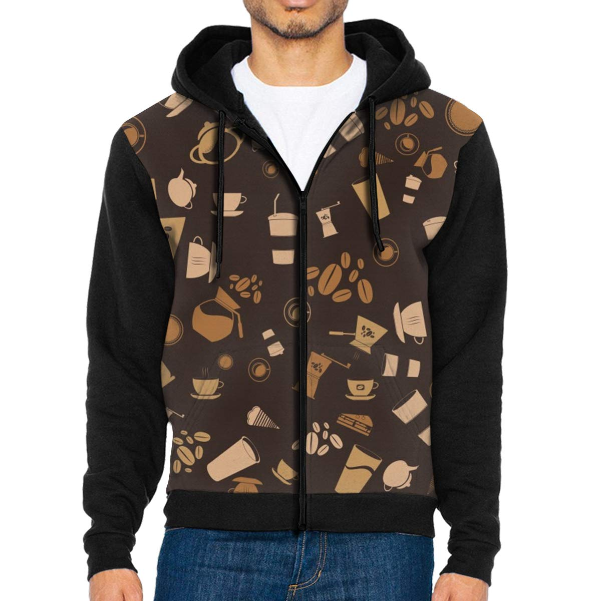 Coffee Elements Pattern Lightweight Mans Jacket with Hood Long Sleeved Zippered Outwear