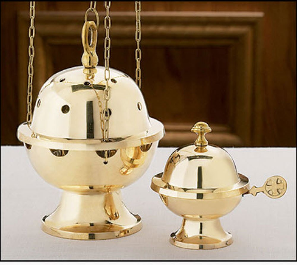 Beautifully Detailed Brass Ornate Censer and Boat Set