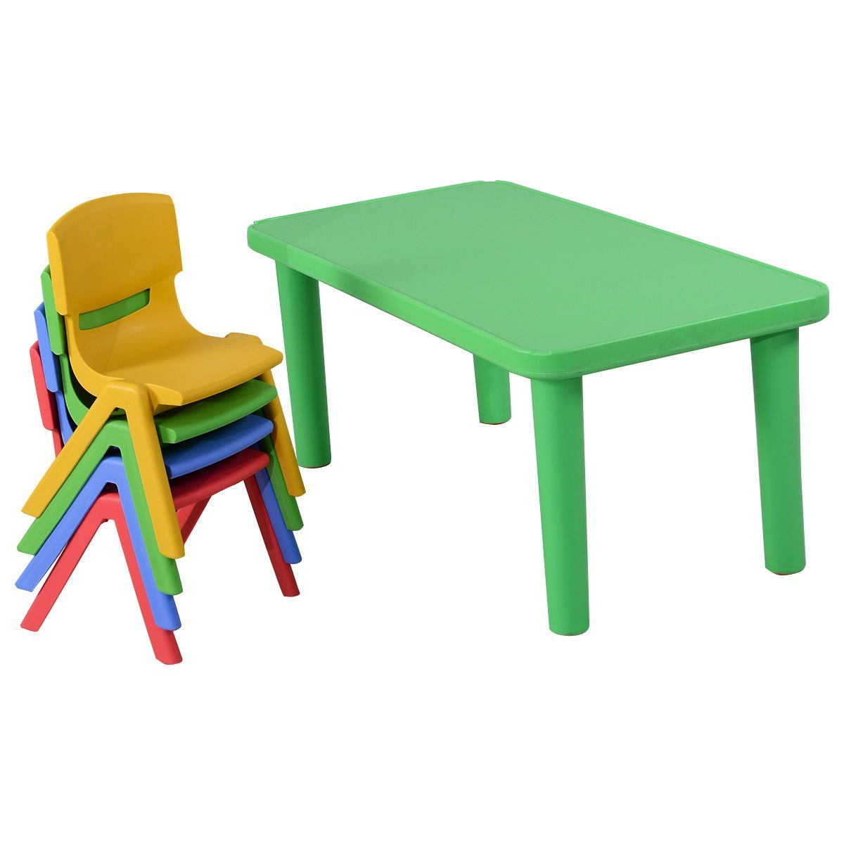 Giantex Kids Plastic Table and 4 Chairs Set Colorful Play School ...