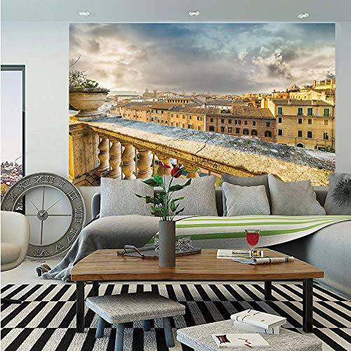 SoSung Italian Decor Wall Mural,Panoramic View of Historic Center of Rome from Ancient Balcony Aerial,Self-Adhesive Large Wallpaper for Home Decor 55x78 inches,Yellow Light Brown