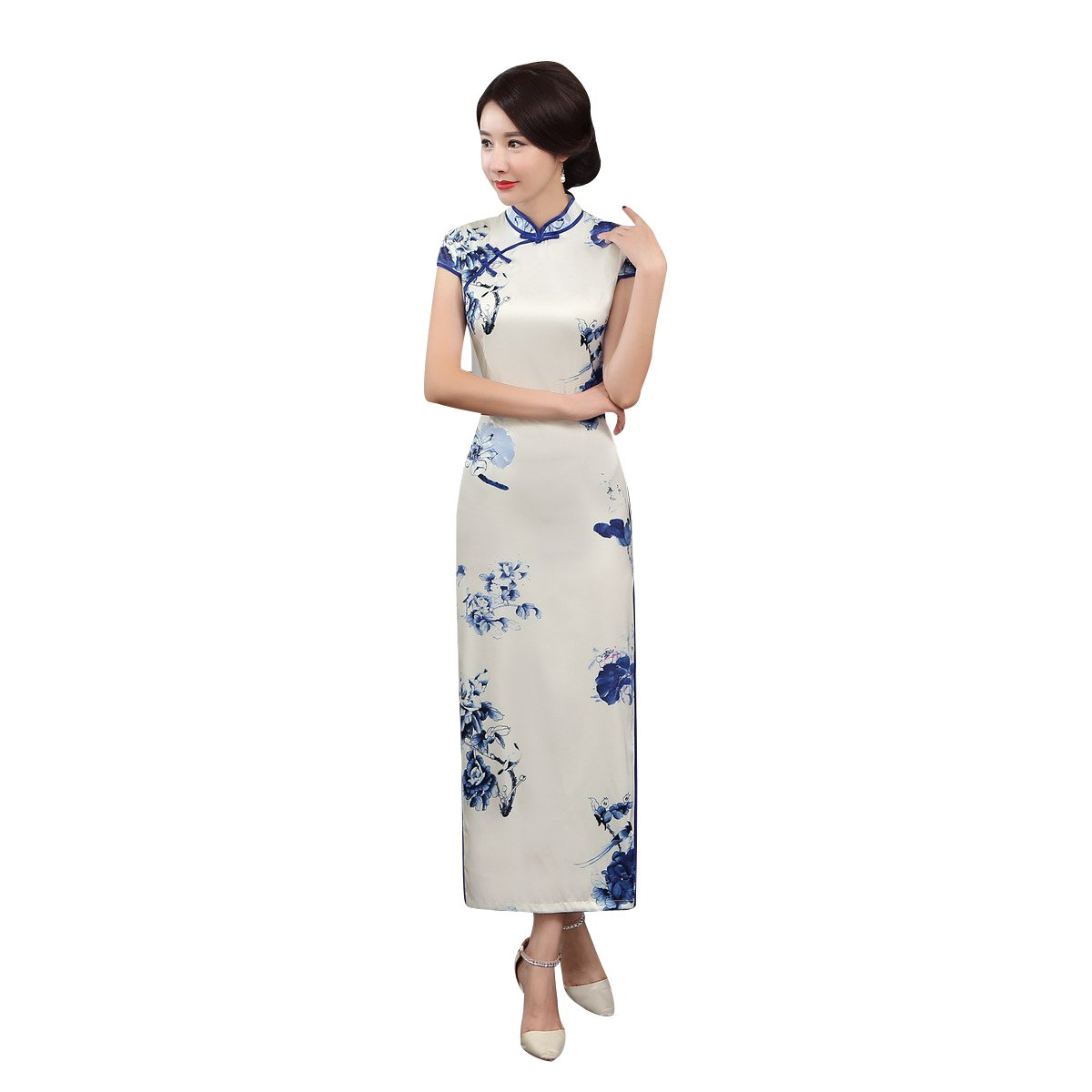 ACVIP Women Cap Sleeve Chinese Paint Floral Maxi Qipao Side Split Cheongsam (China S/Bust:32.3'')