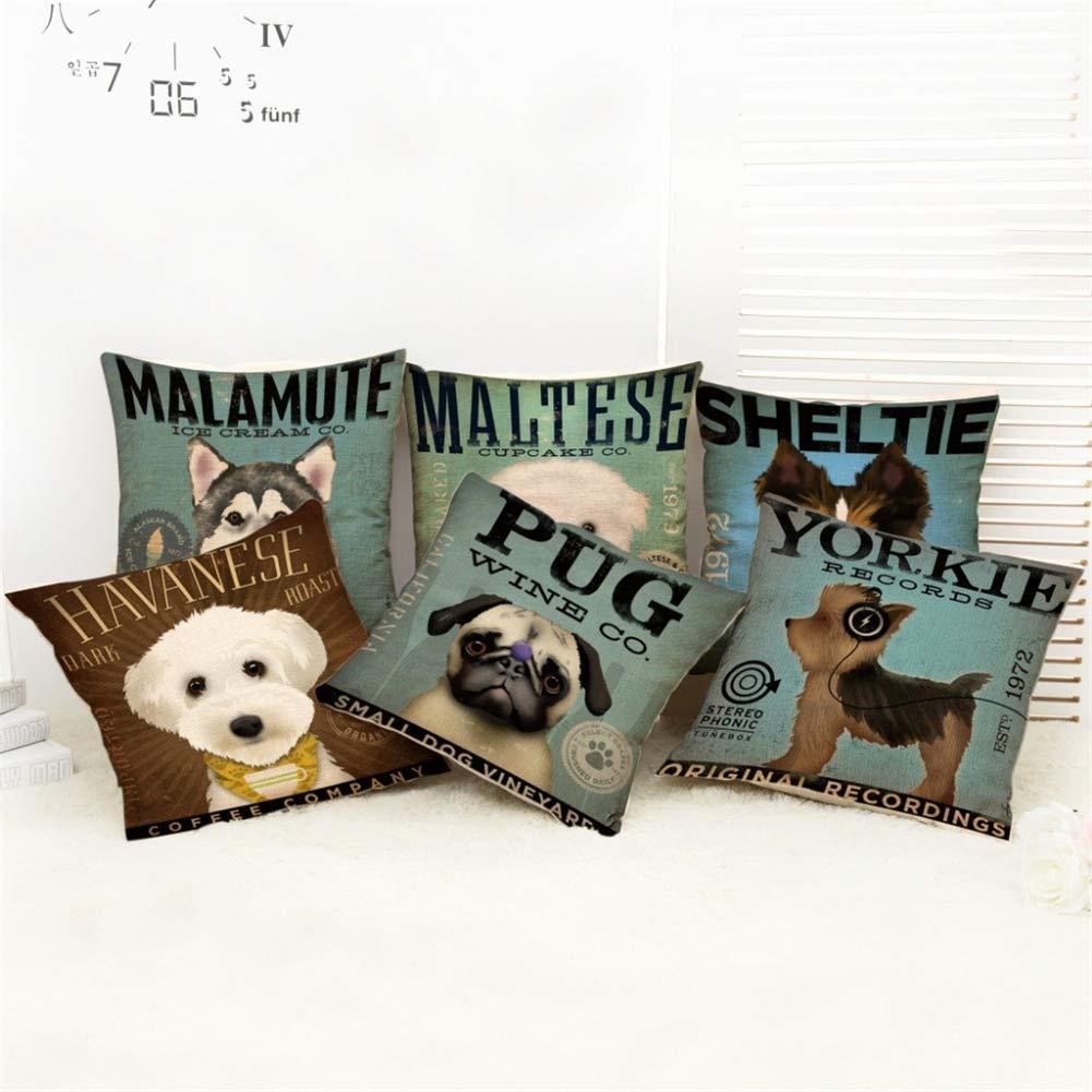 Ruikey Moda Almohada Caso Encantador Perros de Dibujos Animados Lino Cojín Cubierta Sofá Cama Casa Decoración 44 * 44cm