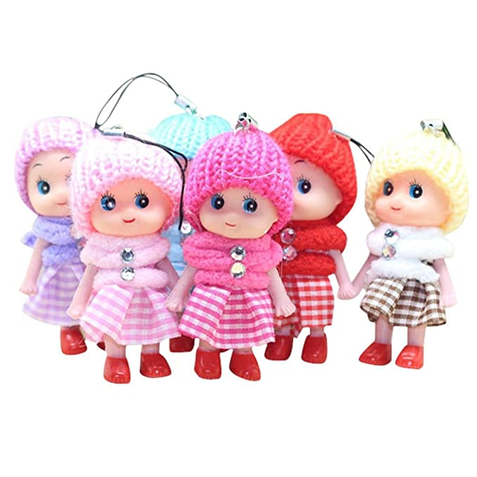 2 Pcs Soft Baby Dolls Interactive Mini Doll Phone Hang Kids Children Toys 8cm TO