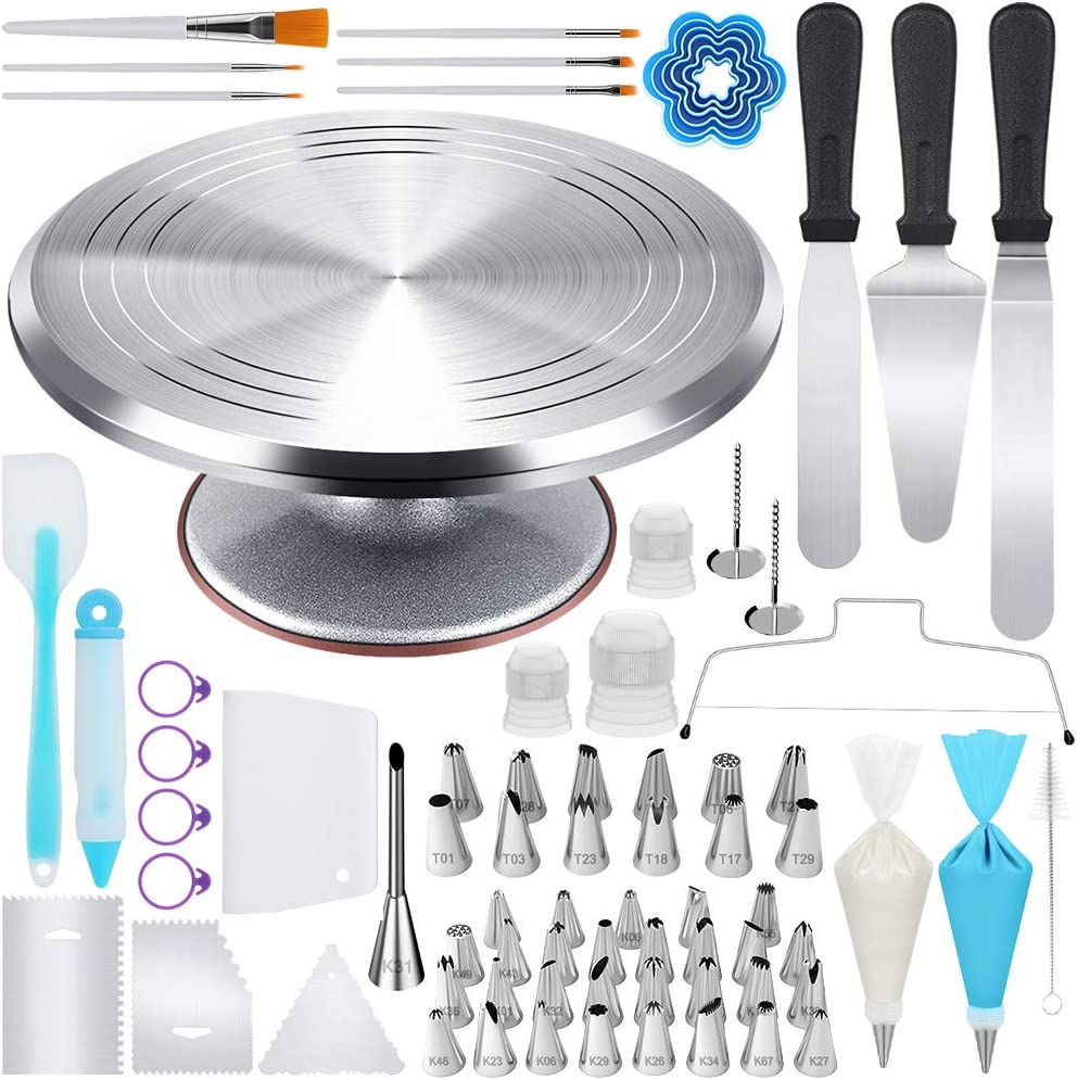 Kootek 177 Pcs Cake Decorating Kits Supplies - Aluminium Alloy Revolving Cake Turntable, Numbered Cake Decorating Tips and Frosting Tools for Baking Cupcake Cookie Muffin Kitchen Utensils
