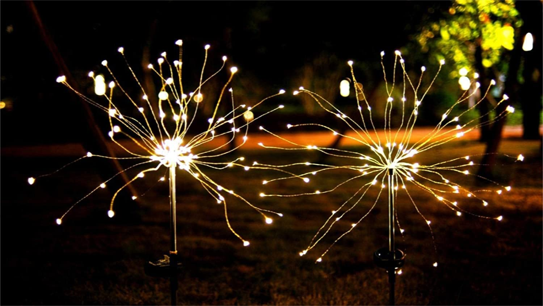 Anordsem Solar Garden Lights Outdoor Decor Lights DIY Dimmable Warm White Tree Shape Solar Firework Lights Stake Lights Auto ON-Off for Garden Pathway Landscape Halloween 2-Pack
