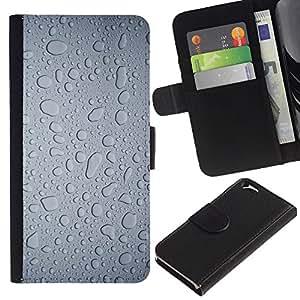 """Apple (4.7 inches!!!) iPhone 6 , la tarjeta de Crédito Slots PU Funda de cuero Monedero caso cubierta de piel ("""" Water Rain Window Droplets Grey Textile Art"""")"""