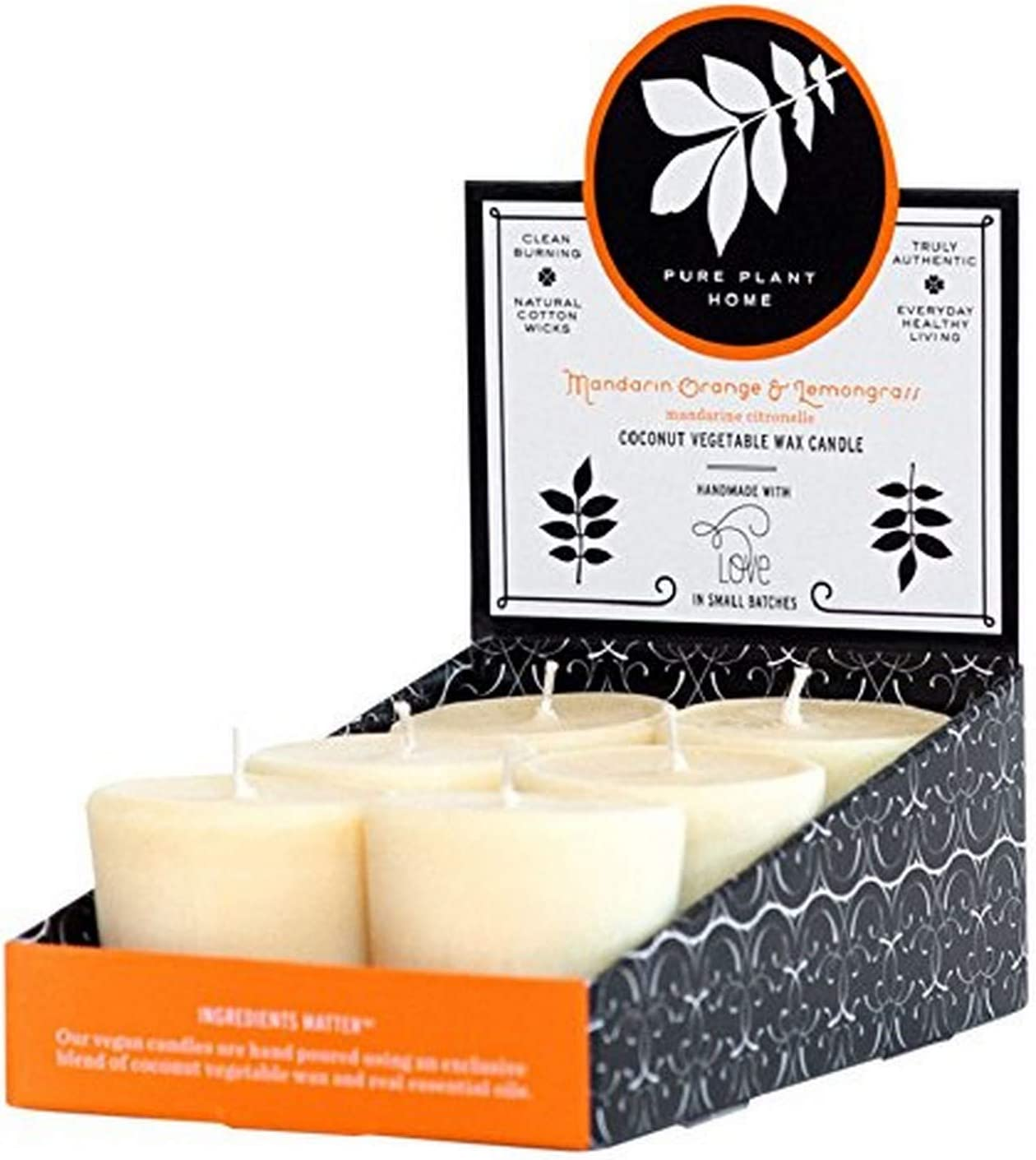 Pure Plant Home, Mandarian Orange Lemongrass Votive, 6 Count