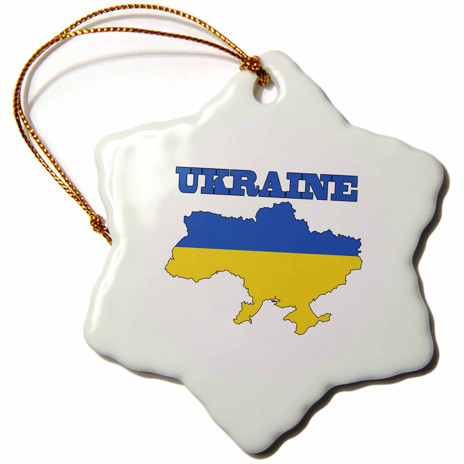 3dRose orn_63214_1 The Flag of The Ukraine in The Outline Map of The Country and Name, Ukraine -Snowflake Ornament, 3-Inch, Porcelain
