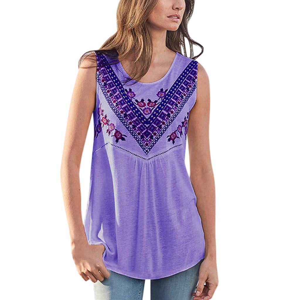 LONGDAY Women Summer Casual Tank Top Sleeveless T-Shirt Vest Crew Neck Bohemian Vintage Shirt Hollow Out Loose Tunic Purple by LONGDAY-Women Tops