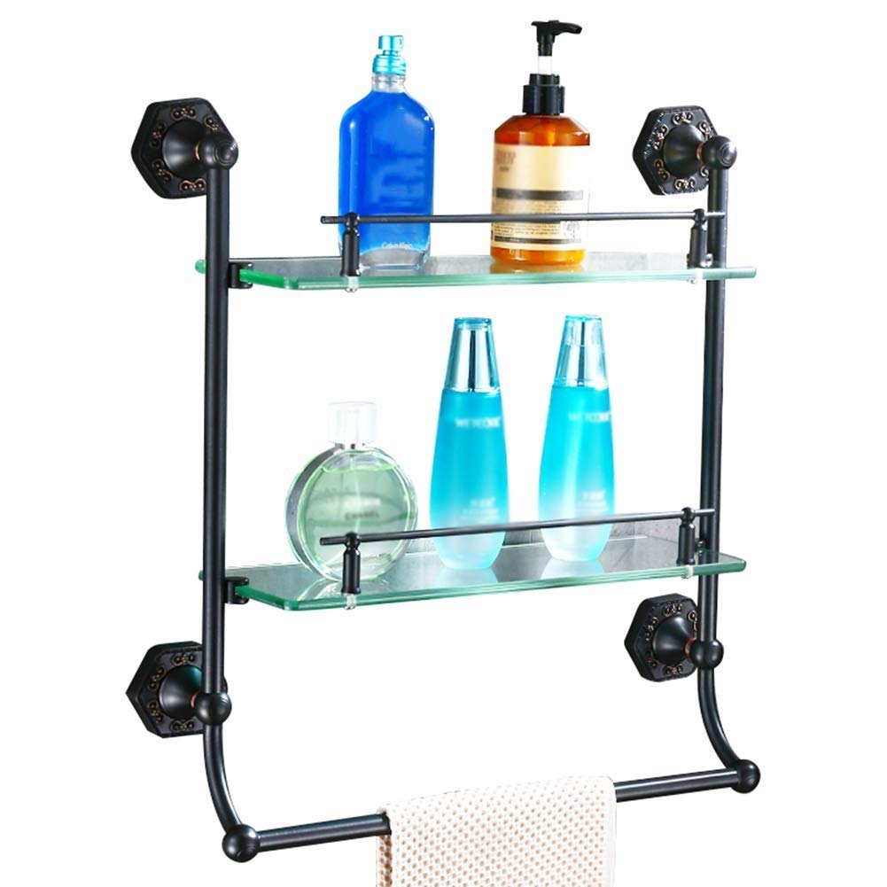 Color : Black Bathroom Shelf Compact Shelf Rectangular Storage Shelf On The Toilet Creative Bathroom Shelf