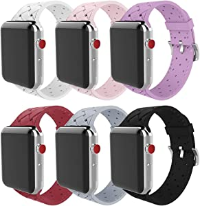 MITERV Watch Bands Compatible with Apple Watch 38mm 40mm 42mm 44mm Soft Silicone Weave Pattern iWatch Bands for Apple Watch Series 6/SE/5/4/3/2/1