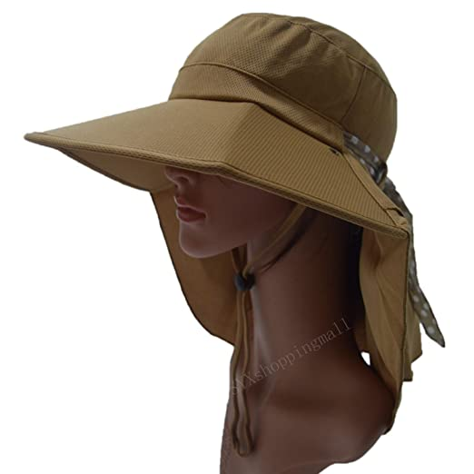 c6875700593 Amazon.com  LGLR UV Protection Sun Hats Packable Summer Hat for Women Chin  Strap 55-59CM (Brown)  Clothing