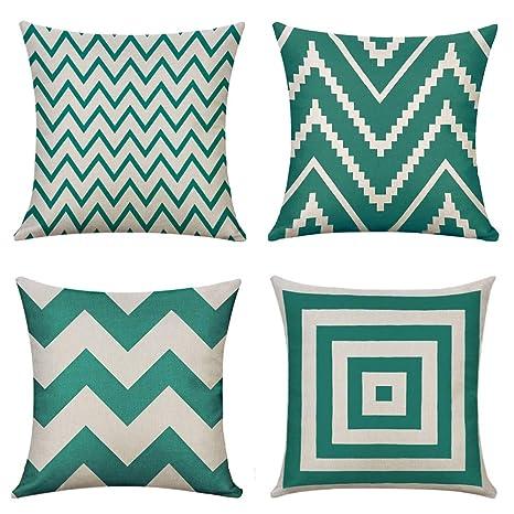 MIULEE Juego de 4 Lino Cojines Verde Ola Funda de Cojín Almohada Caso de Decorativo Cojines para Sala de Estar sofá Cama Coche 18