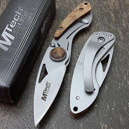 New MTECH USA Knives Maple Burl Wood Frame Lock 5