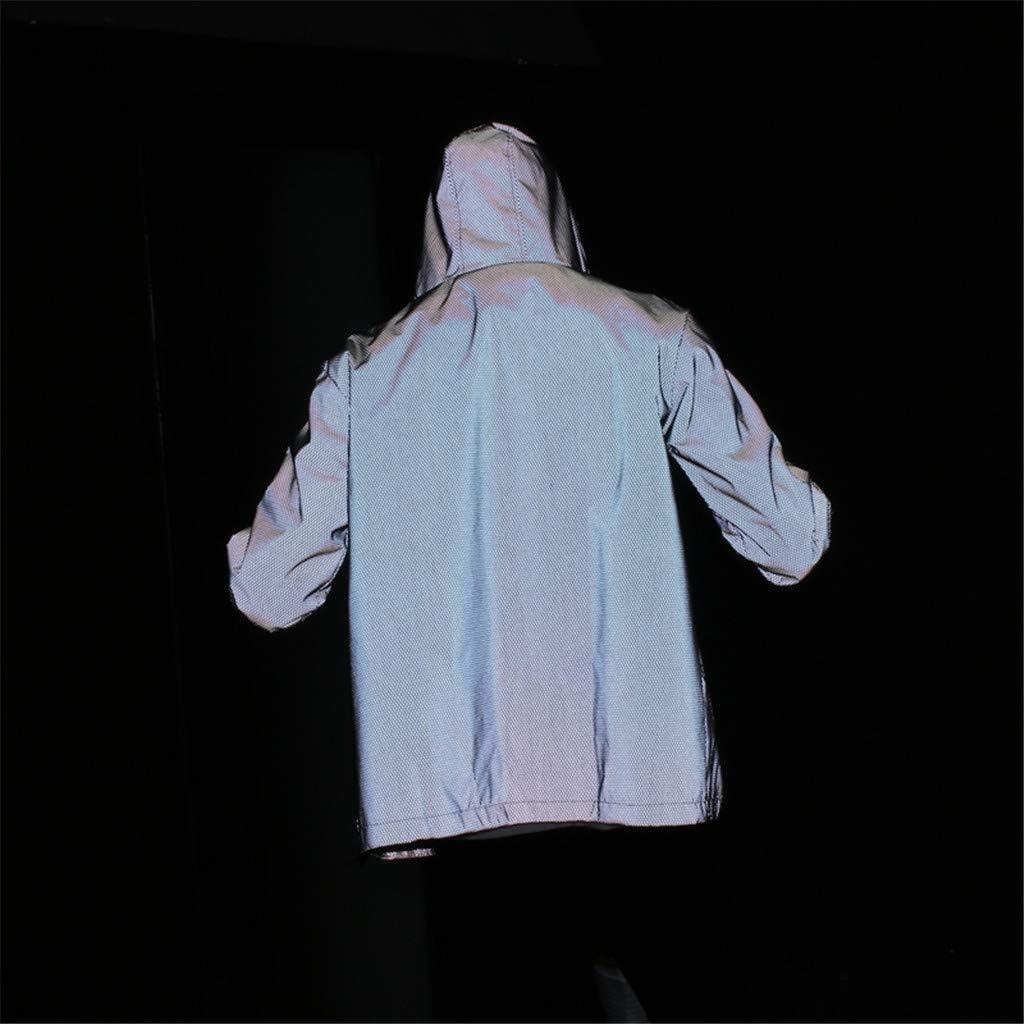 Hmlai Clearance Unisex Reflective Jacket Lightweight Harajuku Windbreaker Thin Outdoor Hooded Jackets Men Streetwear Coat
