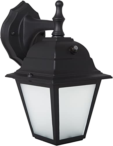 Maxxima LED Porch Lantern Outdoor Wall Light, Black w Frosted Glass, Photocell Sensor, 700 Lumens, Dusk to Dawn Light Sensor, 3000K Warm White