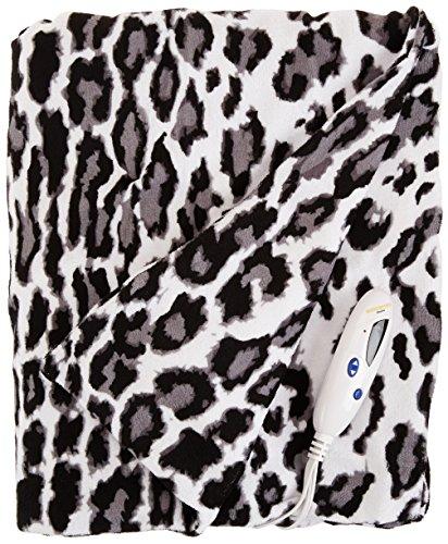 Biddeford 4437-906434-912 Electric Heated MicroPlush Throw, 50-Inch by 62-Inch, Snow Leopard