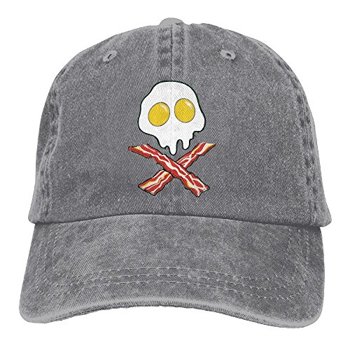 Richard Bacon And Egg Breakfast Crossbones Adult Cotton Washed Denim Travel Caps Adjustable Ash