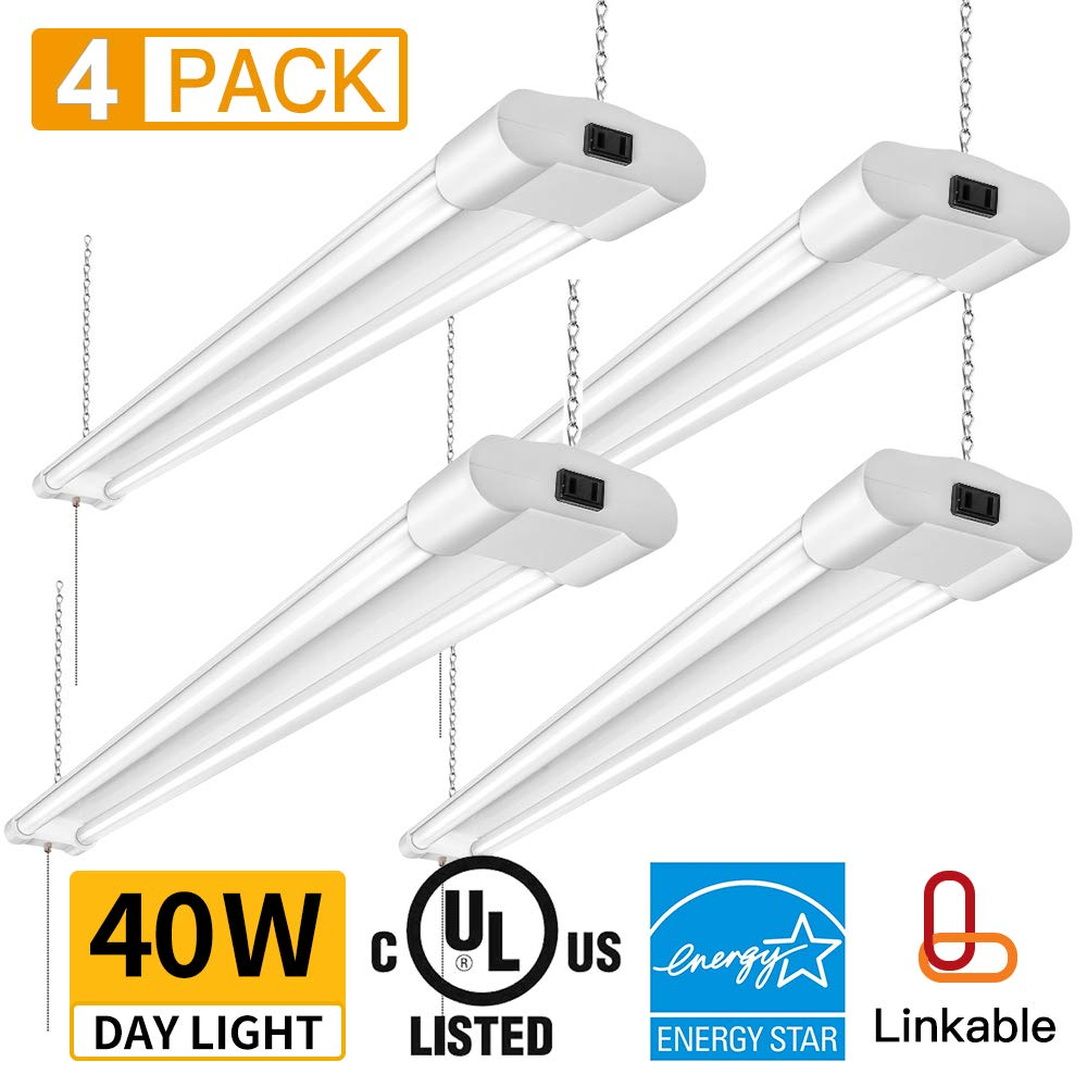 Amico 40W 4000LM 4FT Linkable LED Utility Shop Lights for Garage,Double Integrated LED Fixture UL and Energy Star,5000K Daylight, 100W Fluorescent Eq. Hanging Light with Pull Chain Switch (4 Pack)