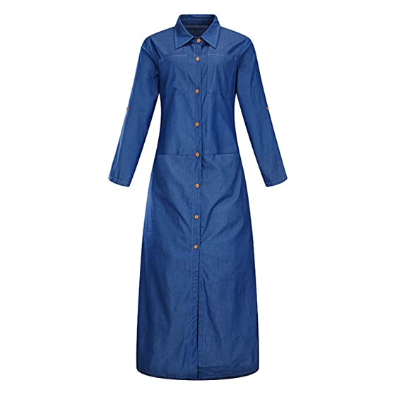 Beautifullight Great,Good looking Blue Denim Maxi Dress Women Turn Down Collar Shirt Dress Long