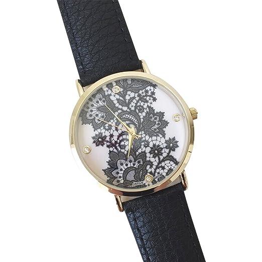 Rosepoem Relojes de cuero de imitación Relojes de encaje mujeres Moda Ronda de cuarzo reloj de pulsera Relojes de marcación grandes Negro: Amazon.es: ...