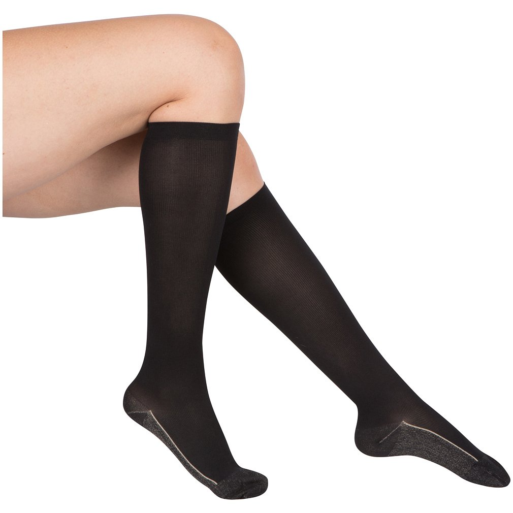 2 Pair EvoNation Women's Copper USA Made Graduated Compression Socks 20-30 mmHg Firm Pressure Medical Quality Knee High Orthopedic Support Stockings Circulation Hose (Large, Black)