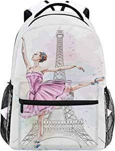 Ballerina Eiffel Tower School Backpack Daypacks, Ballet Dancer Bookbag Schoolbag Shoulder Bag Laptop Bag for Teens Kids Boys Girls