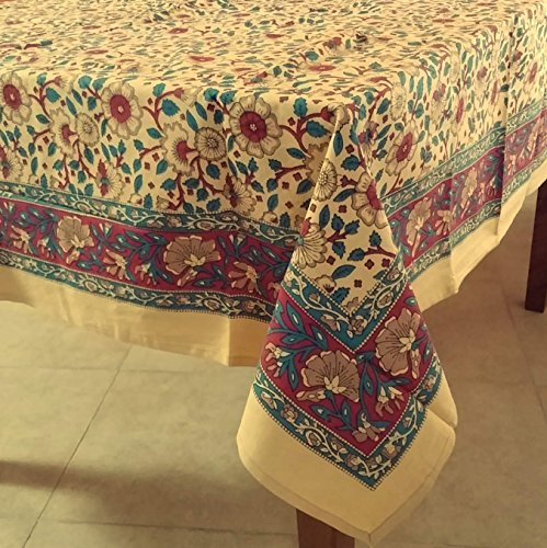 Block Printed (Handmade Hand Block Print 100% Cotton Eternal Floral Vine Tablecloth 60x60 (Gold Red))
