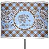 RNK Shops Gingham & Elephants 13'' Drum Lamp Shade Polyester (Personalized)