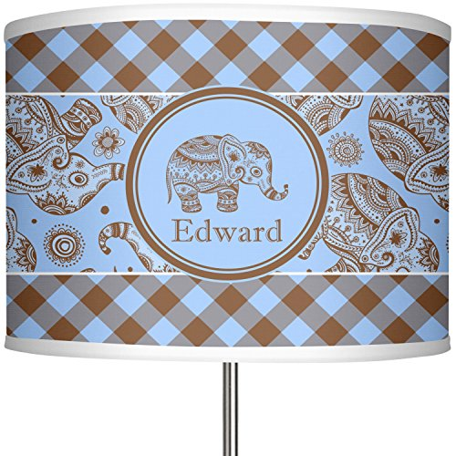 RNK Shops Gingham & Elephants 13'' Drum Lamp Shade Polyester (Personalized) by RNK Shops